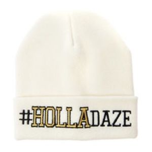 Claire's #Holladaze white beanie